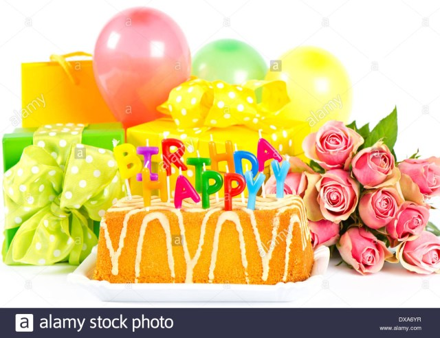 Happy Birthday Cake And Flowers Happy Birthday Party Decoration With Roses Flowers Cake Balloons