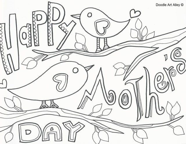 Happy Mothers Day Coloring Pages Mothers Day Coloring Pages Doodle Art Alley