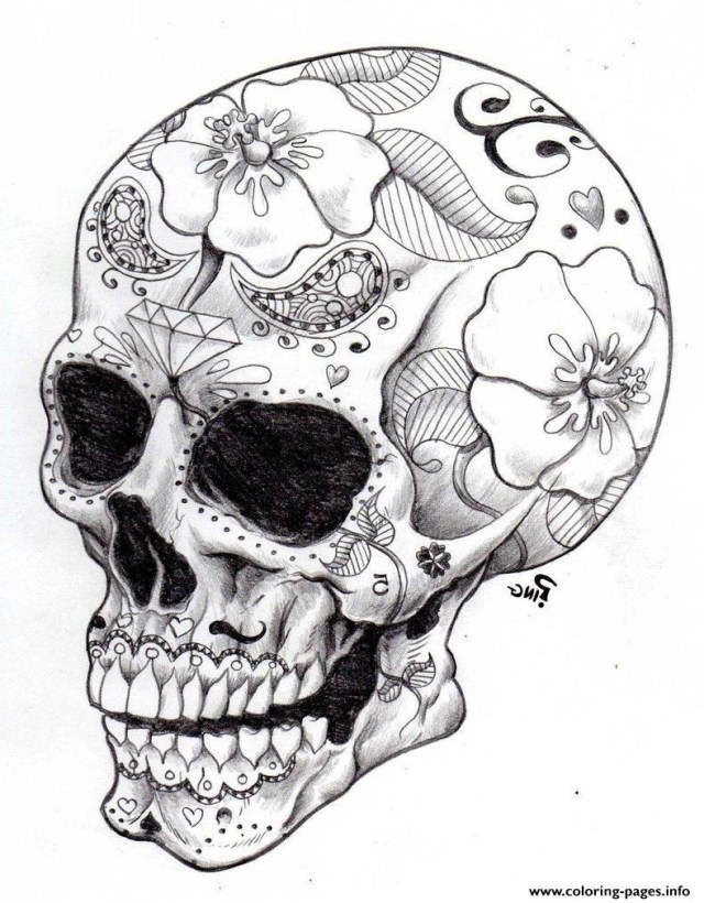 Hard Coloring Pages Print Real Sugar Skull Precision Hd Hard Coloring Pages Avec For