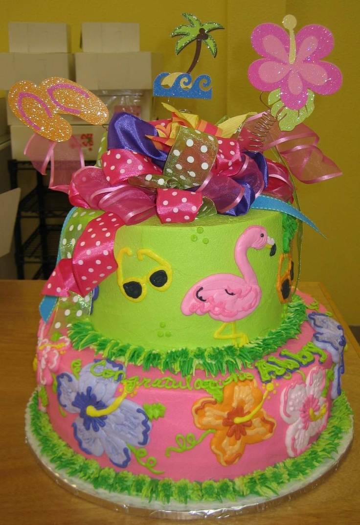 Astounding Hawaiian Birthday Cake 10 Girls Luau Birthday Cakes Photo Luau Funny Birthday Cards Online Elaedamsfinfo