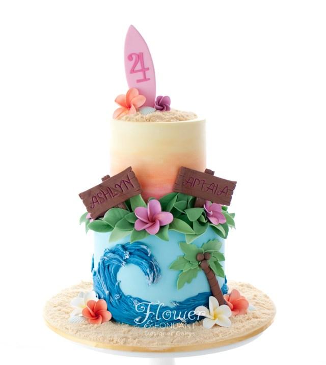Hawaiian Birthday Cake Hawaiian Birthday Cake Flower Fondant