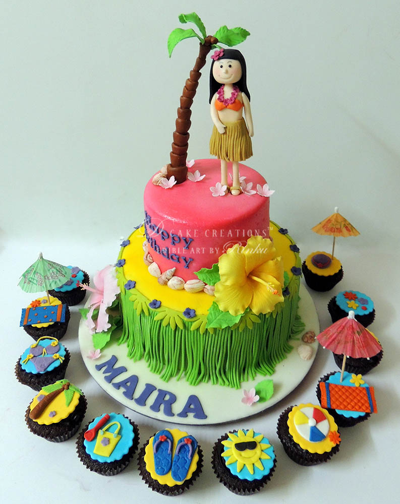 Amazing Hawaiian Birthday Cake Hula Luau Birthday Cake D Cake Creations Funny Birthday Cards Online Elaedamsfinfo
