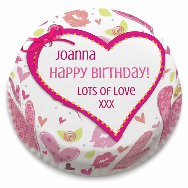 Heart Birthday Cake Personalised Love Heart Birthday Cake From 1499 Bakerdays
