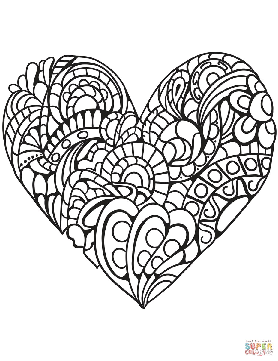 Heart Coloring Pages For Adults Coloring Page Doily Heart Coloring Page Young Rembrandts Shop
