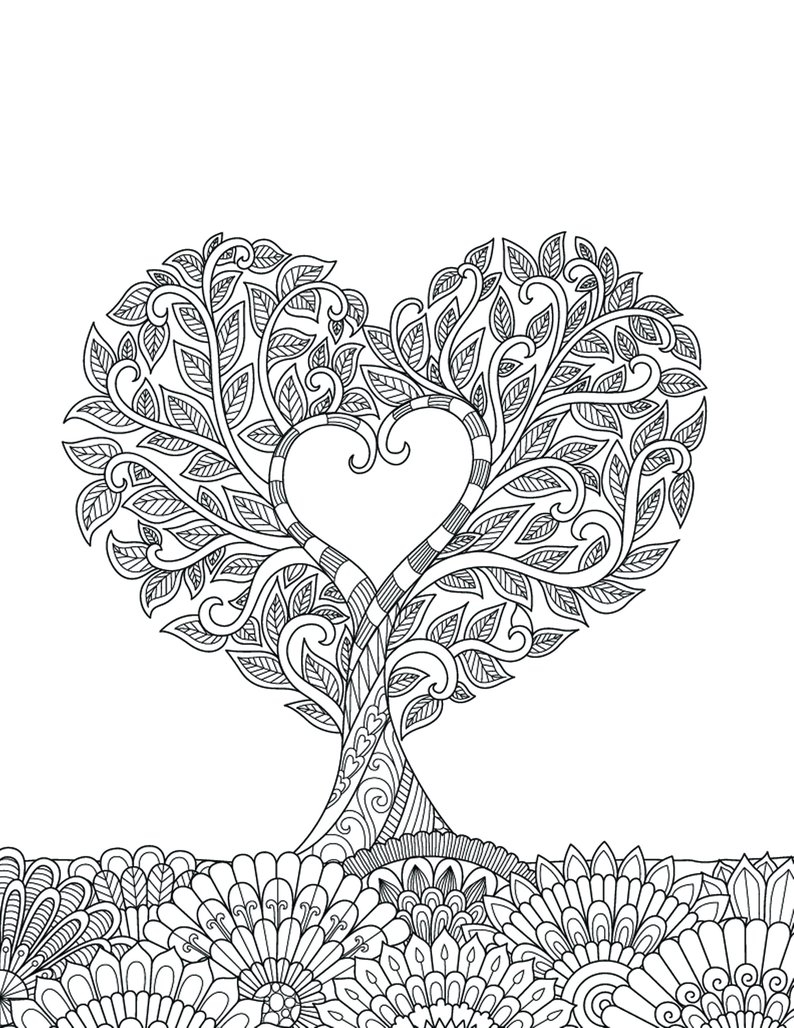 Heart Coloring Pages For Adults Heart Coloring Pages For Adults 1 ...