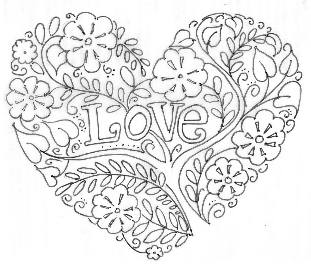 Coloring Pages For Adults Love | Pusat Hobi