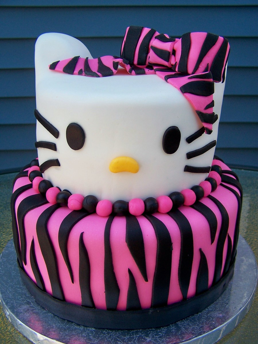 Terrific Hello Kitty Birthday Cakes Zebra Print Hello Kitty Birthday Cake Funny Birthday Cards Online Alyptdamsfinfo
