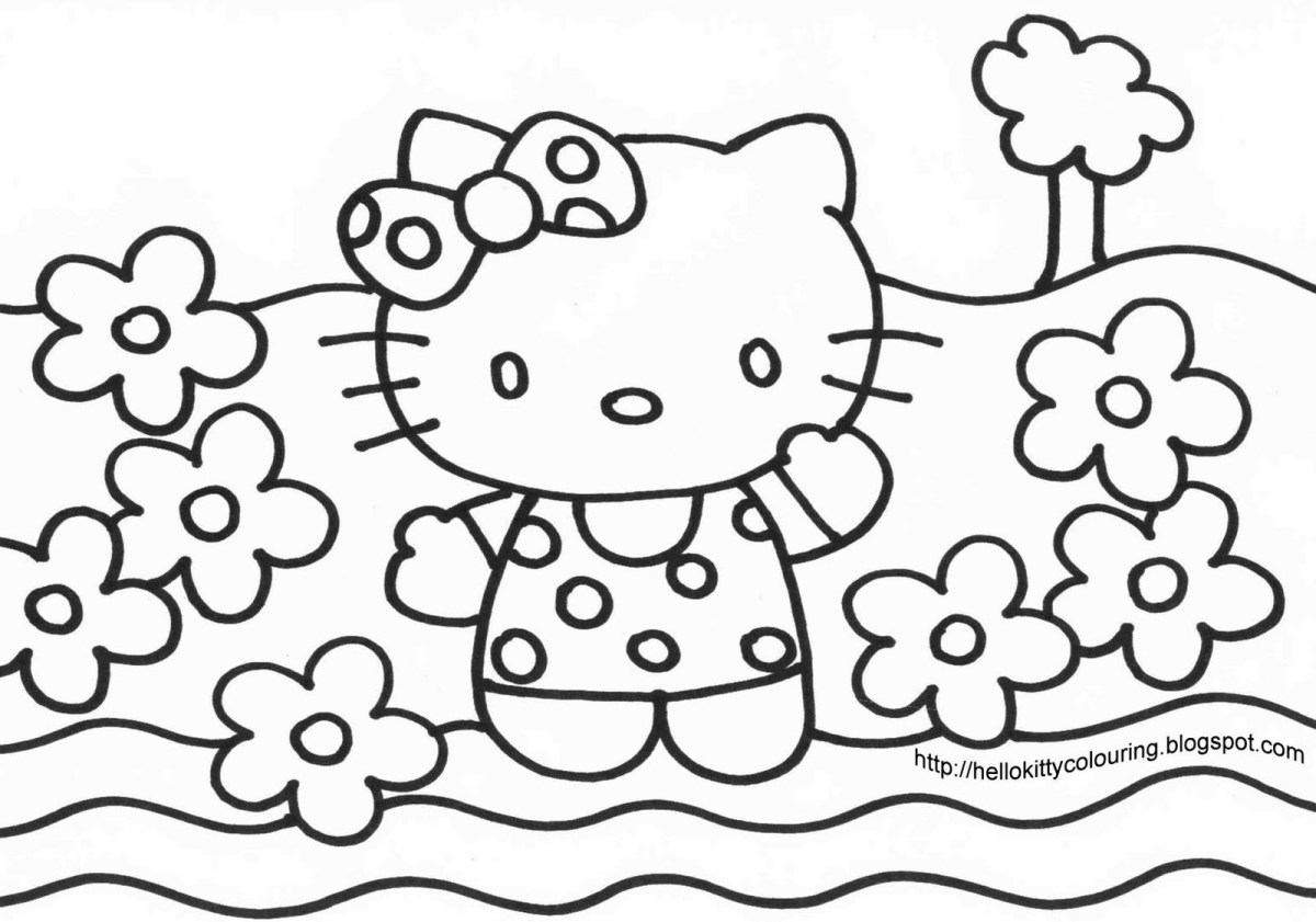 Hello Kitty Coloring Pages Big Coloring Pages Of Hello Kitty With Big Coloring Pages Of Hello