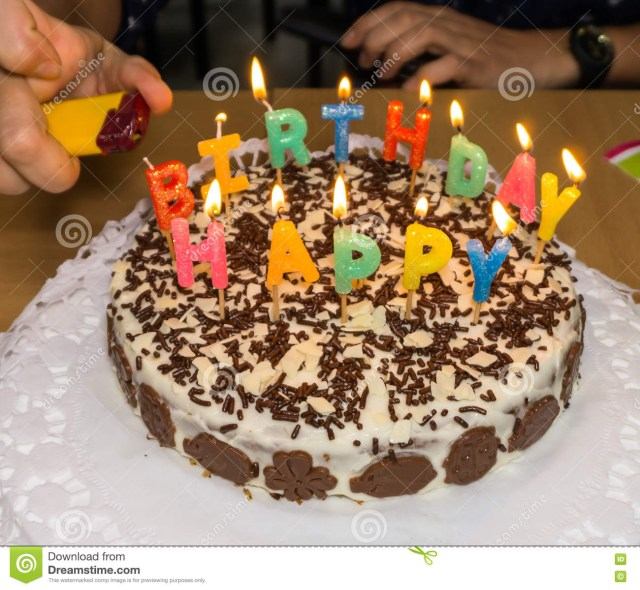 Homemade Birthday Cakes Candlelight Homemade Birthday Cake Fire Stock Image Image Of