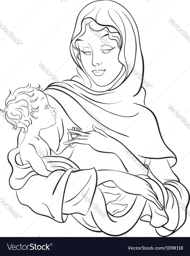 Jesus Coloring Page Madonna And Child Jesus Coloring Page Royalty Free Vector