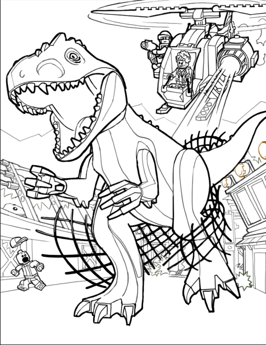 coloring pages lego jurassic park