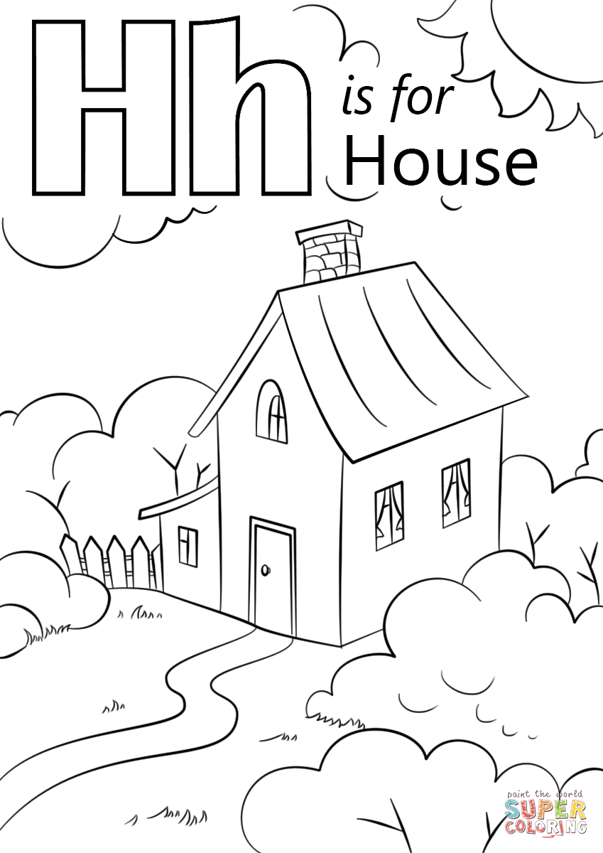 Letter H Coloring Pages Letter H Is For House Coloring Page Free Printable Coloring Pages Birijus Com