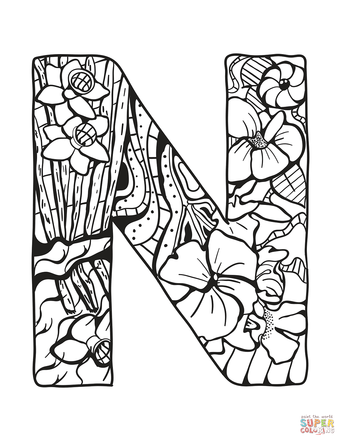 photograph regarding Letter N Printable called Letter N Coloring Webpage Letter N Zentangle Coloring Webpage Cost-free