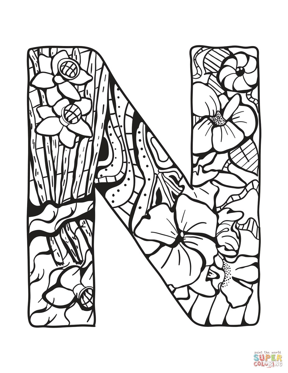 Letter N Coloring Page Letter N Zentangle Coloring Page Free ...