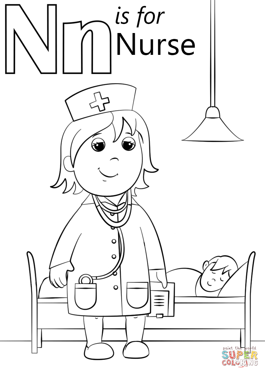 Letter N Coloring Page N Is For Nurse Coloring Page Free Printable