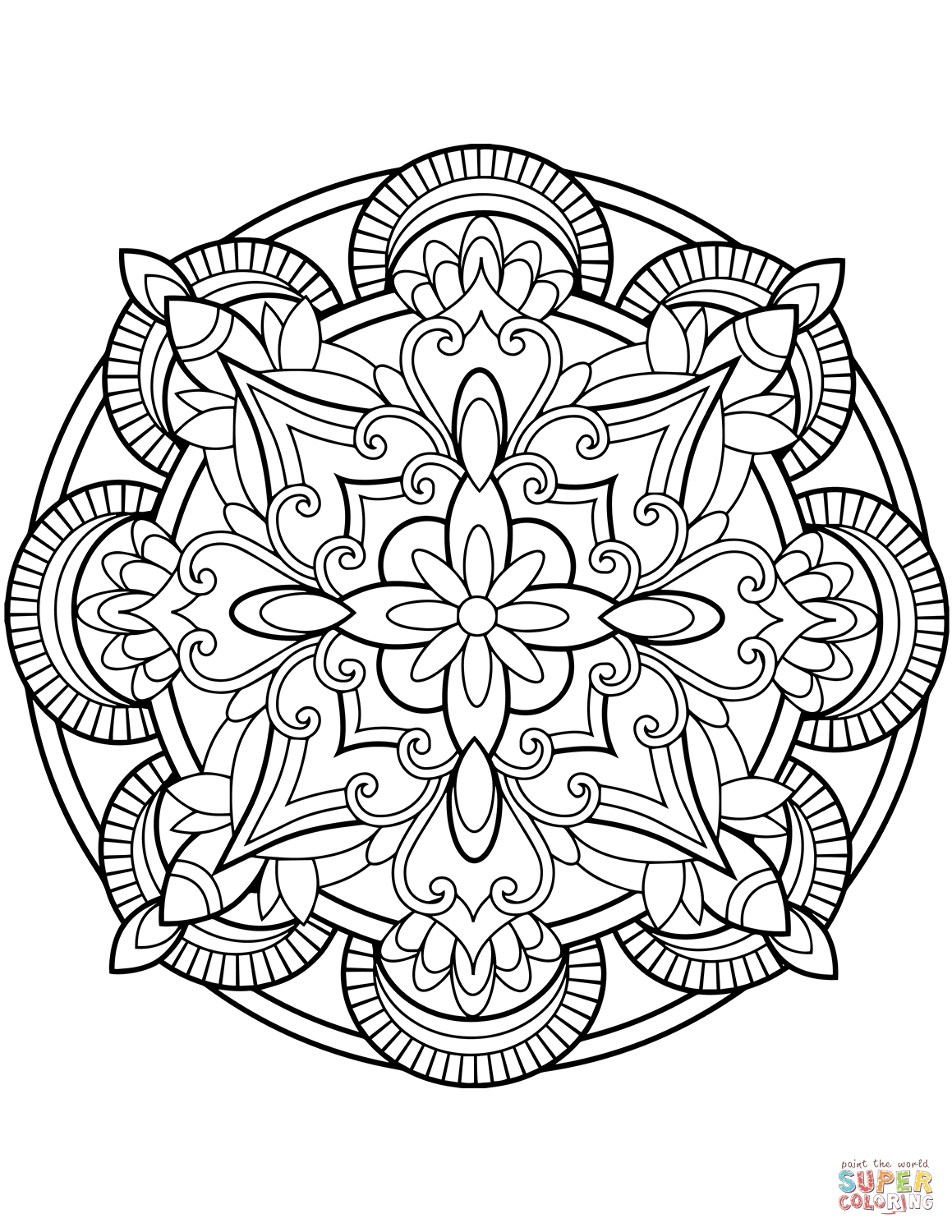 Free Printable Coloring Pages | Color a Mandala | 1500x1159