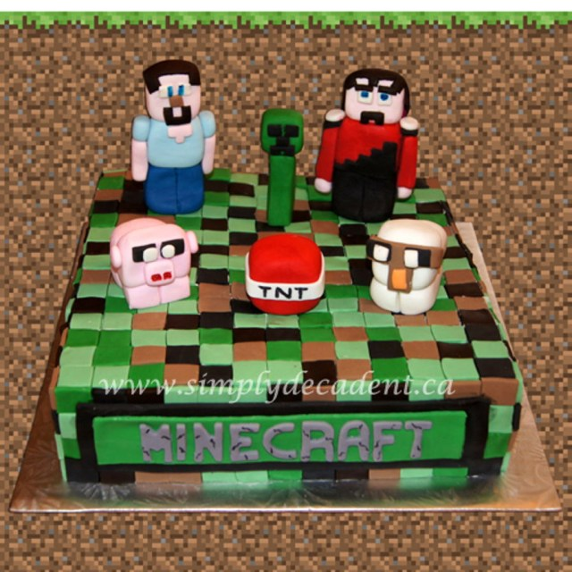 Minecraft Birthday Cake Fondant Minecraft Birthday Cake With 3d Figures Steve Creeper Red