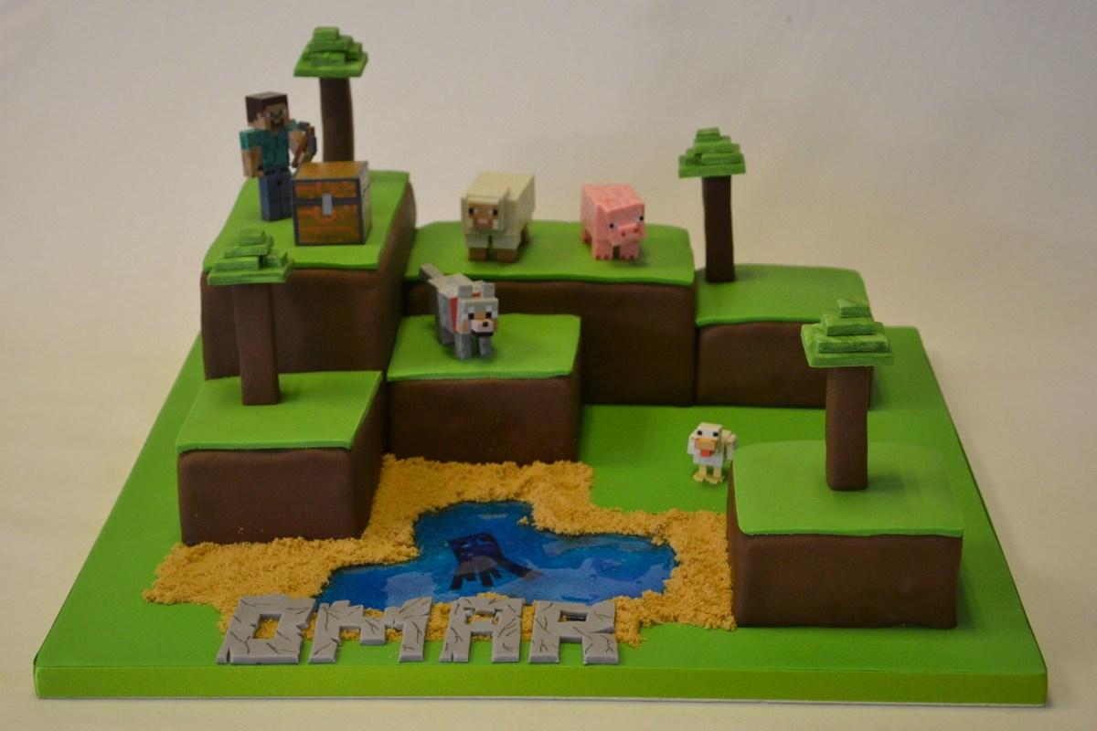 Astounding Minecraft Birthday Cakes Minecraft Island Cake Boys Birthday Cakes Personalised Birthday Cards Paralily Jamesorg