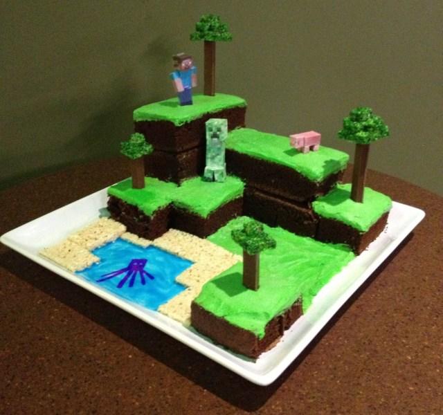 Minecraft Birthday Cakes Minecraft World Cake With Pictures