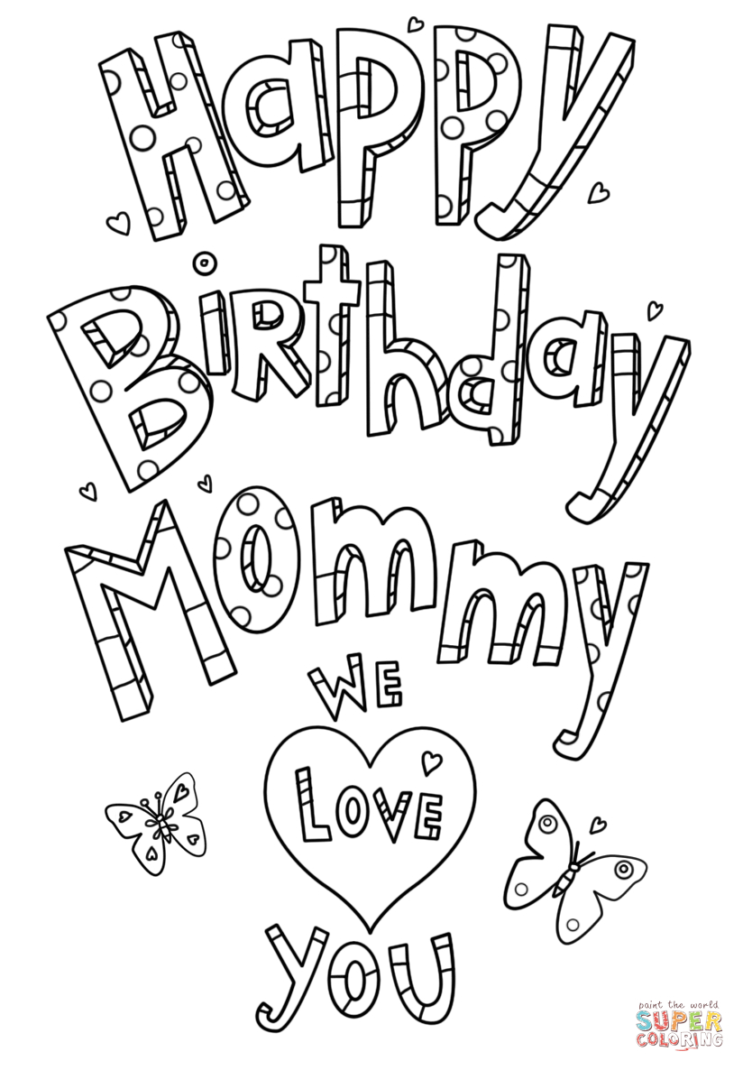 - Mom Coloring Pages Happy Birthday Mommy Doodle Coloring Page Free