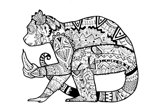 Monkey Coloring Pages Monkey Pauline Monkeys Adult Coloring Pages