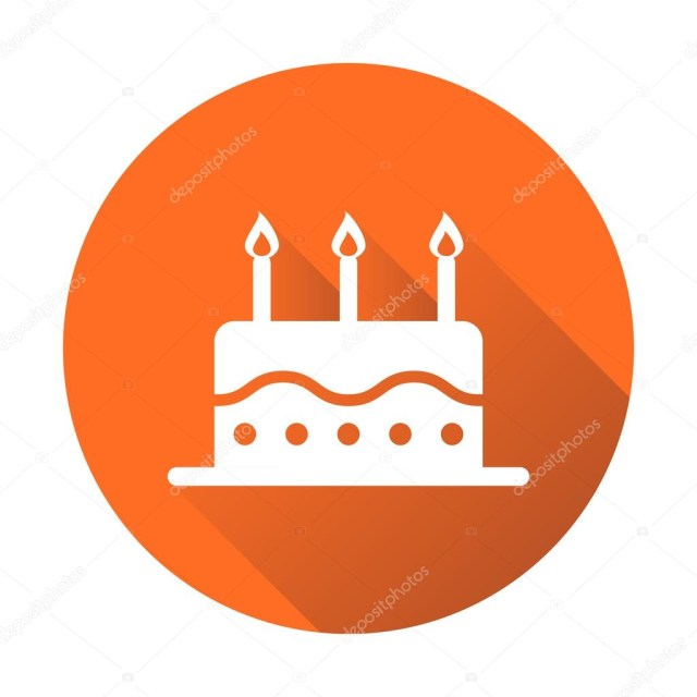 Orange Birthday Cake Birthday Cake Flat Icon Fresh Pie Muffin On Orange Round Background