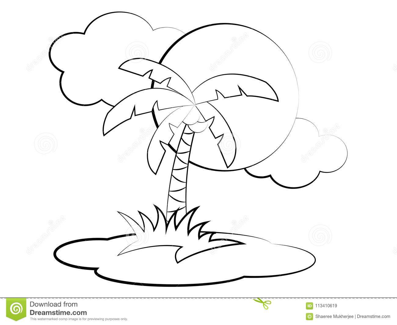 - Palm Tree Coloring Pages Coconut Tree Coloring Page Stock