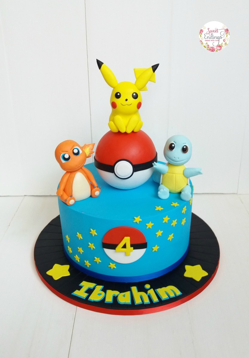 Amazing Pokemon Birthday Cakes Pikachu Charmander And Squirtle For This Funny Birthday Cards Online Alyptdamsfinfo