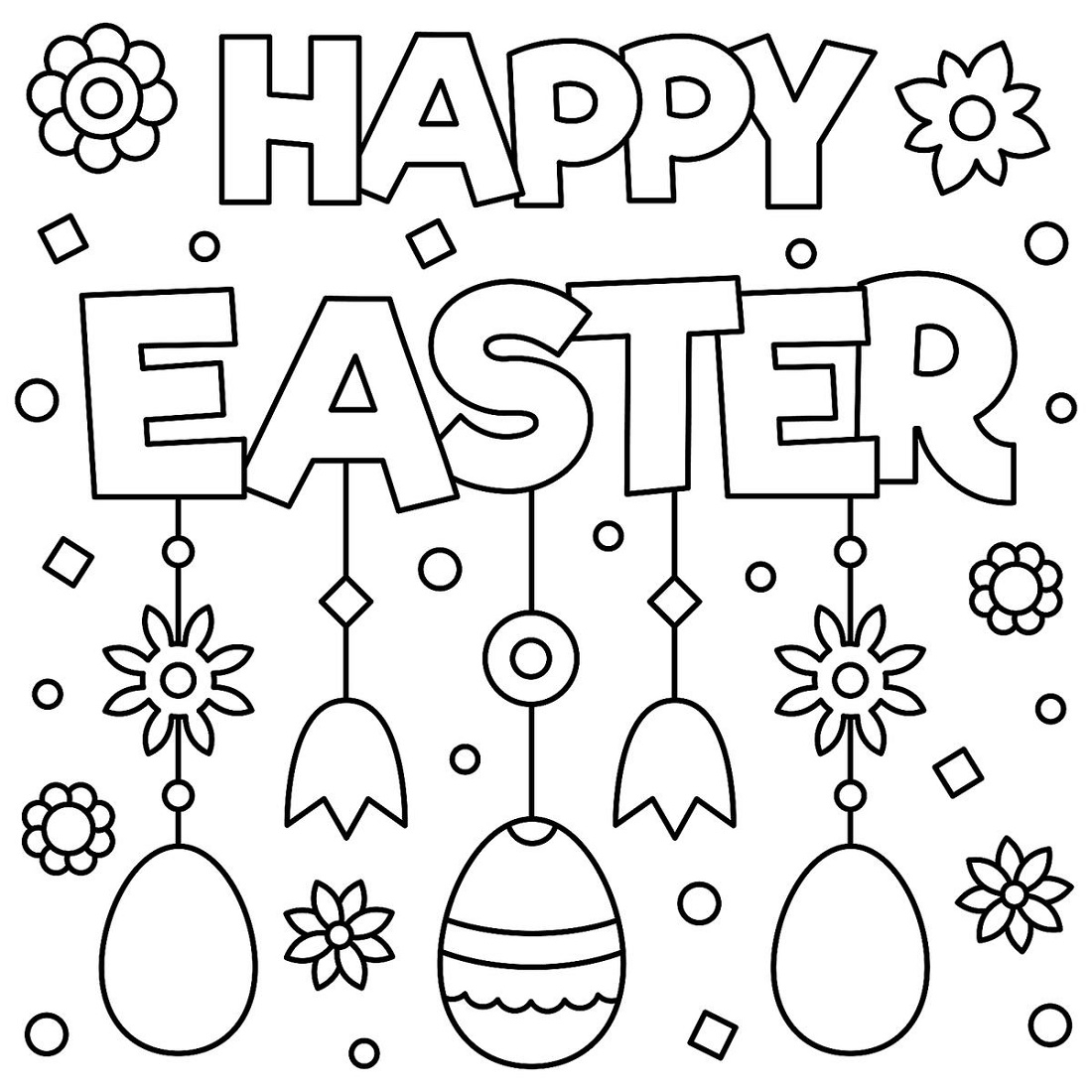 Girl Easter S With Eggsec3c Coloring Pages Printable | 1100x1100