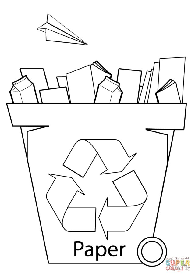 Recycling Coloring Pages Paper Recycling Bin Coloring Page Free Printable Coloring Pages