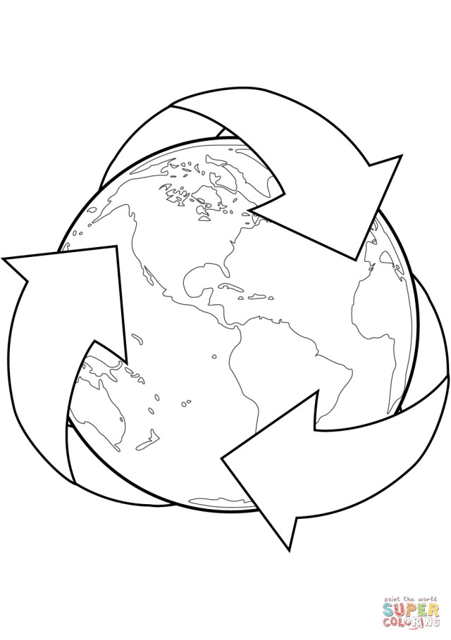Recycling Coloring Pages Recycle Sign With Earth Coloring Page Free Printable Coloring Pages