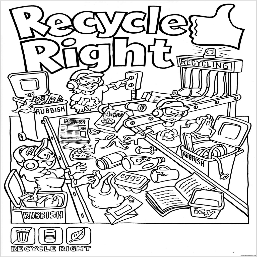 Beautiful Photo of Recycling Coloring Pages | Earth day coloring ... | 1024x1024