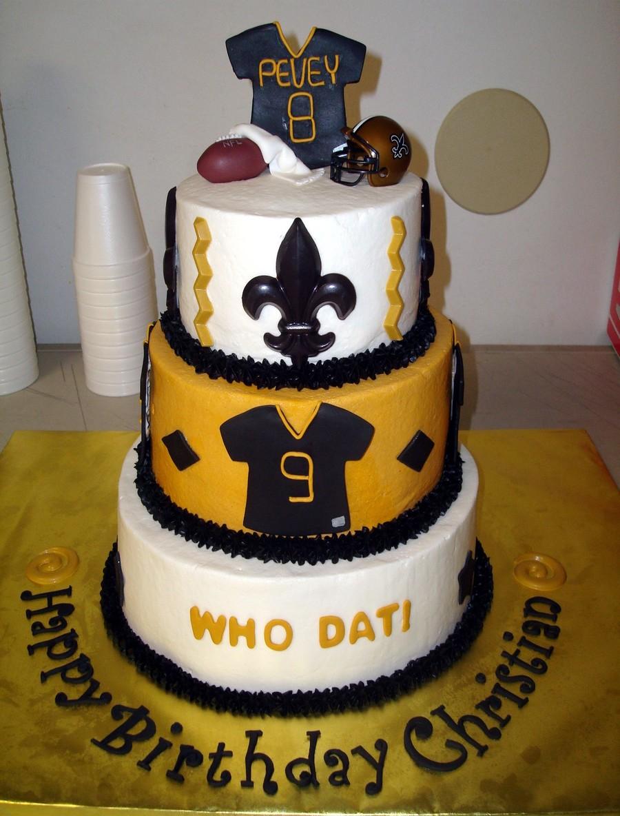 Fabulous Saints Birthday Cake New Orleans Saints Birthday Cake Fleur De Lis Personalised Birthday Cards Veneteletsinfo