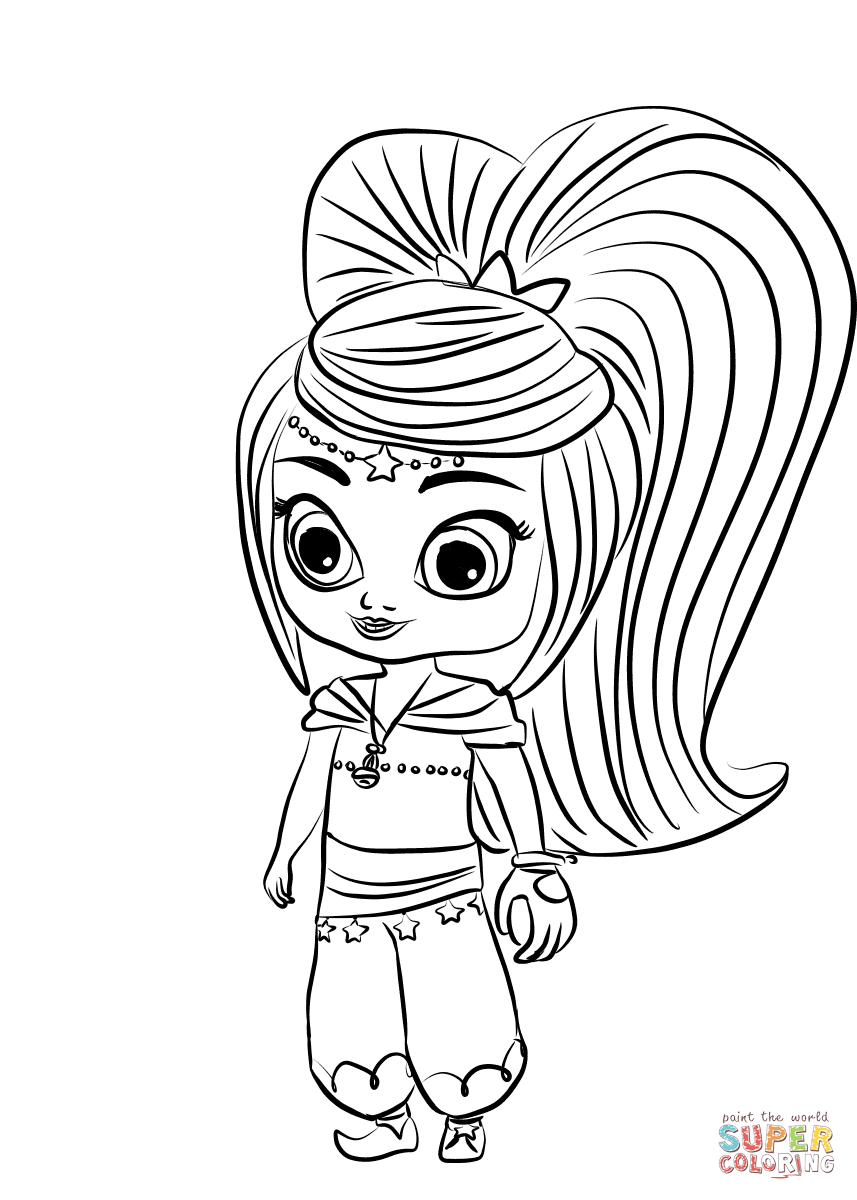 Shimmer And Shine Coloring Pages Leah From Shimmer And Shine Coloring Page Free Printable Coloring