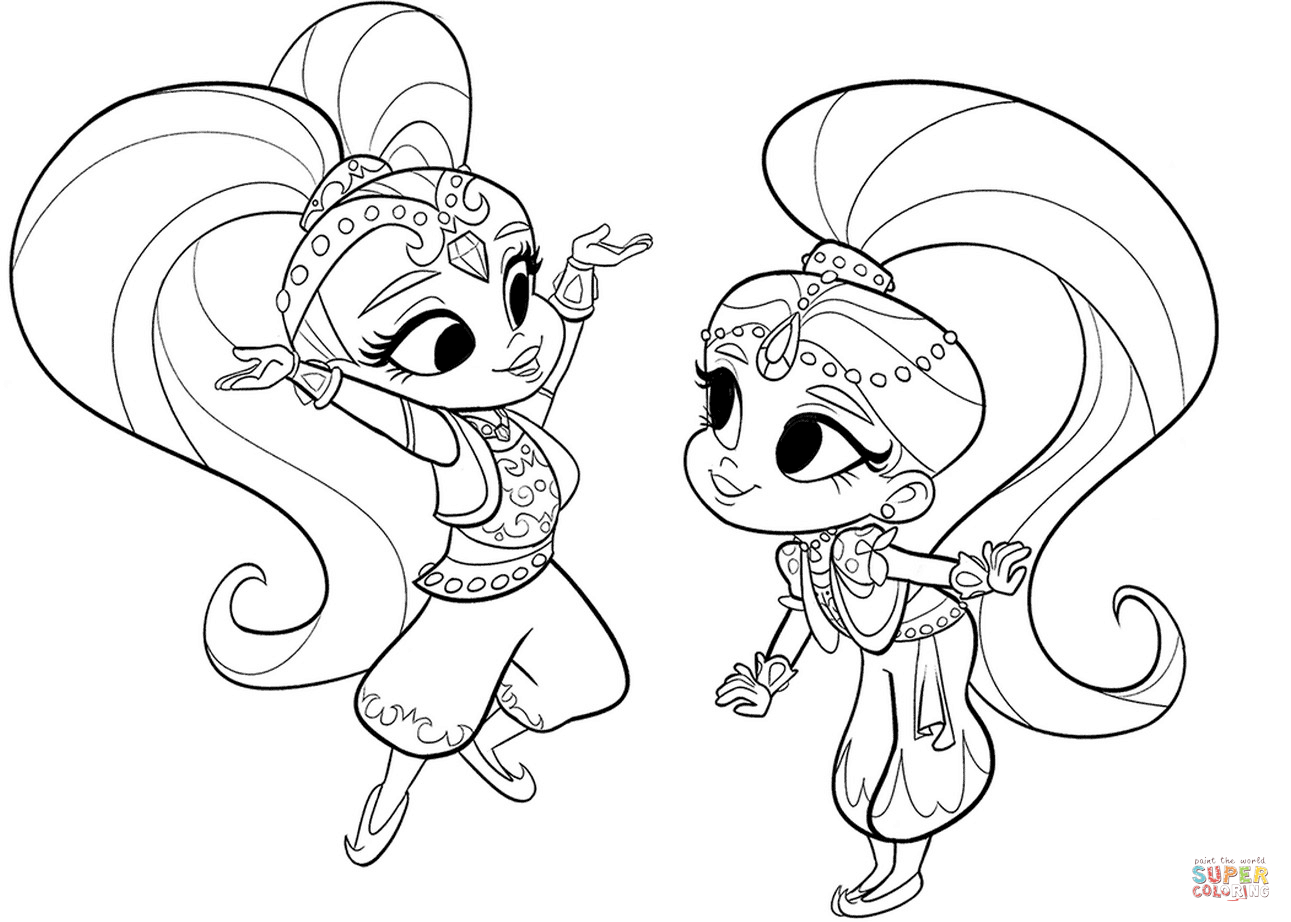 - Shimmer And Shine Coloring Pages Shimmer And Shine Coloring Page