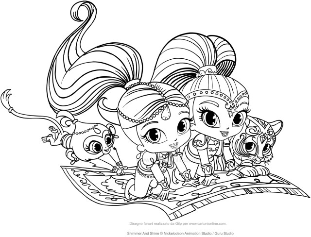 Shimmer And Shine Coloring Pages Shimmer And Shine Coloring Page