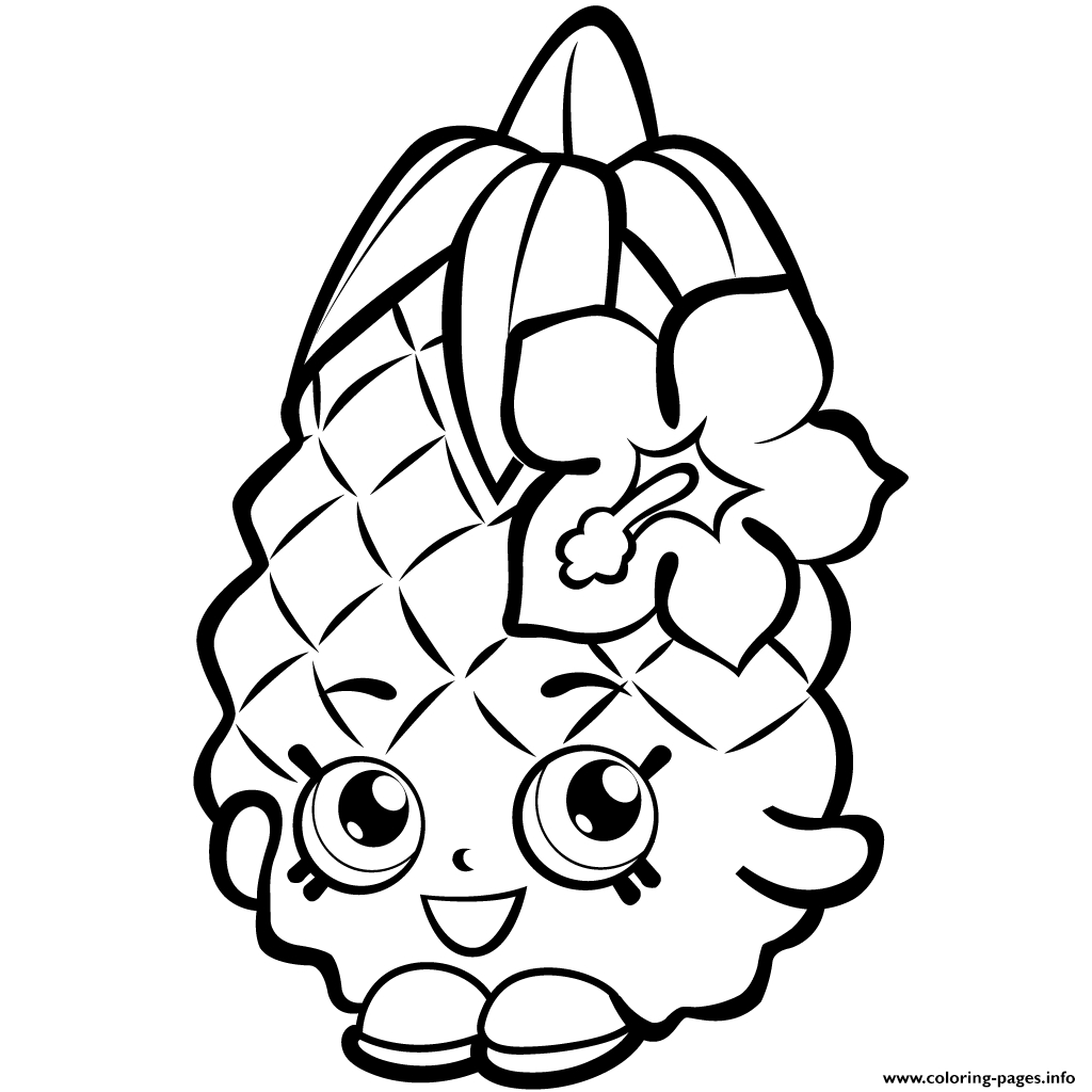 Shopkins Coloring Pages To Print Fruit Pineapple Shopkins