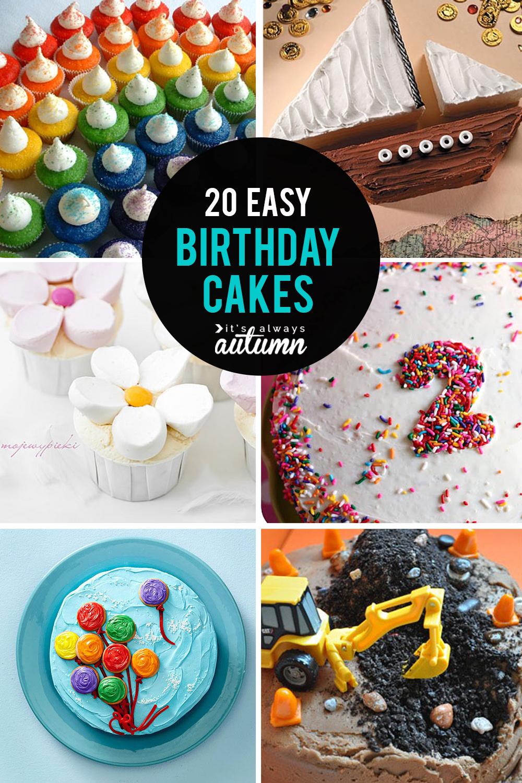 Astounding Simple Birthday Cake Recipe 20 Easy Birthday Cakes That Anyone Can Funny Birthday Cards Online Unhofree Goldxyz