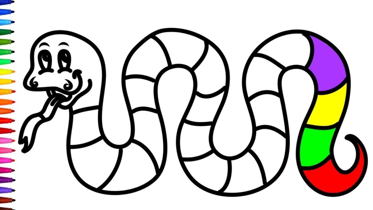 Snake Coloring Pages Rainbow Snake Coloring Pages For Children Learn Colours Within