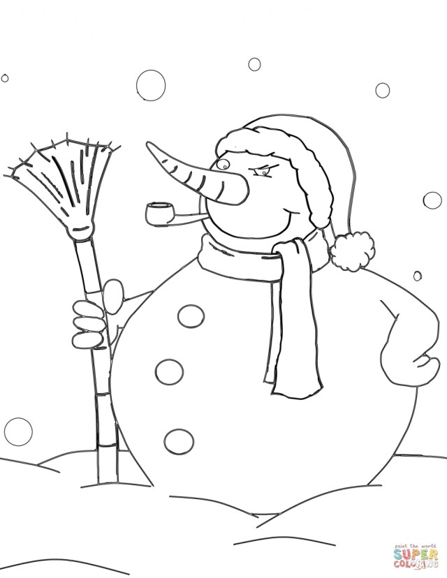Snowman Coloring Pages Coloring Page Snowman Coloring Pages Free With Pipe And Broom Page