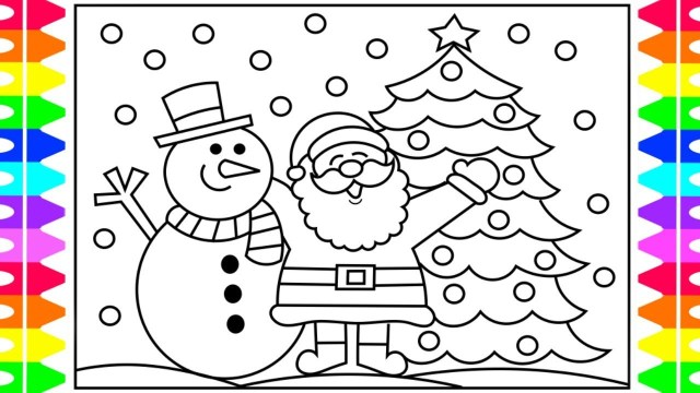 Snowman Coloring Pages How To Draw Santa Step Step For Kids Santa And Snowman Coloring