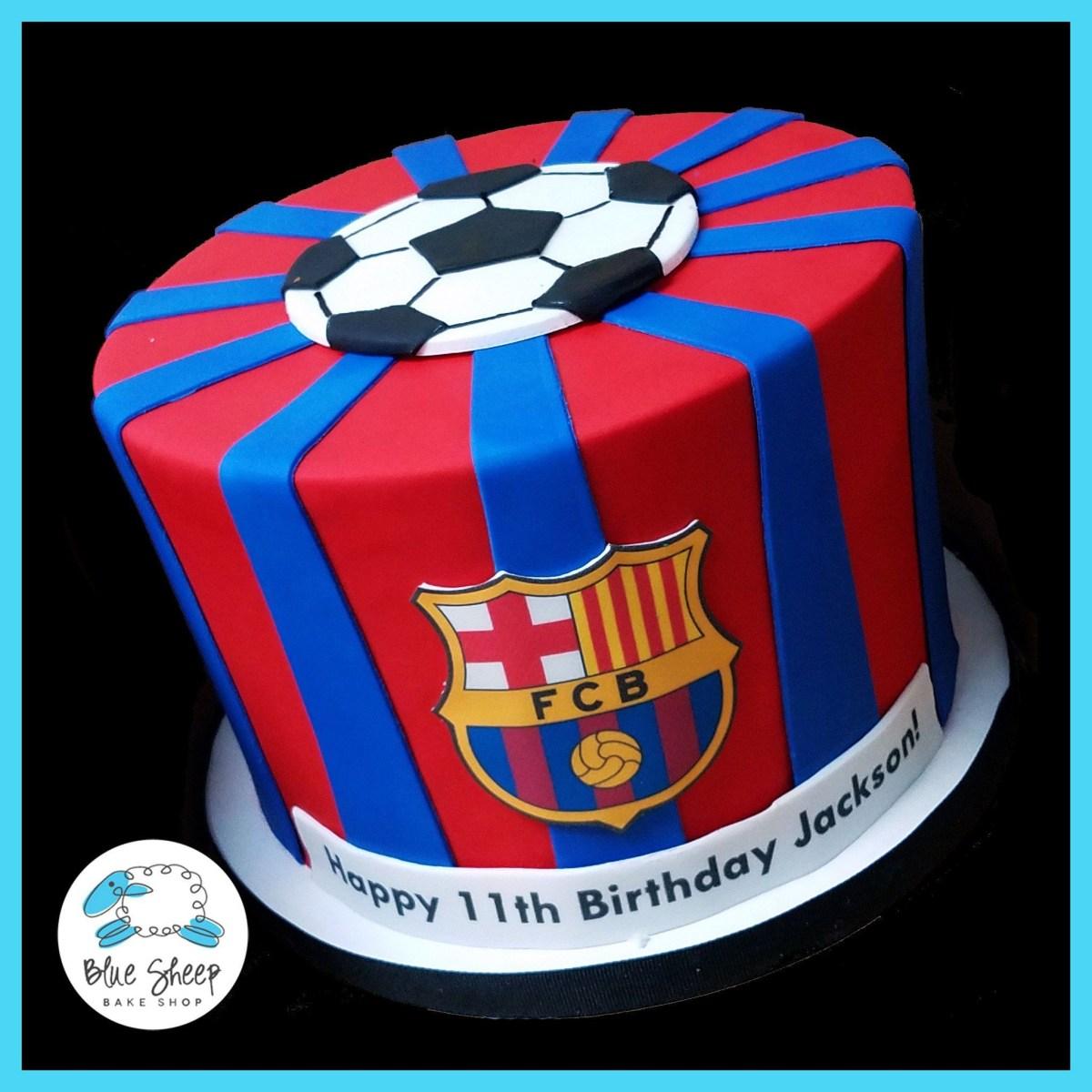 Super Soccer Birthday Cake Fcb Soccer Birthday Cake In 2018 Kids Cake Personalised Birthday Cards Paralily Jamesorg