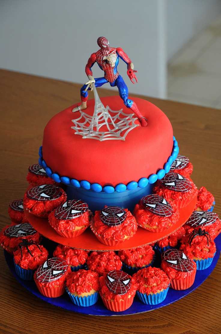Admirable Spiderman Birthday Cakes 12 Cakes With Cupcakes For Mans Photo Personalised Birthday Cards Arneslily Jamesorg