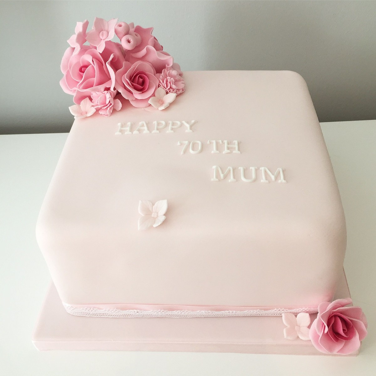 Sensational Square Birthday Cakes Soft Feminine Pink Square 8 Cake With Pink Funny Birthday Cards Online Overcheapnameinfo