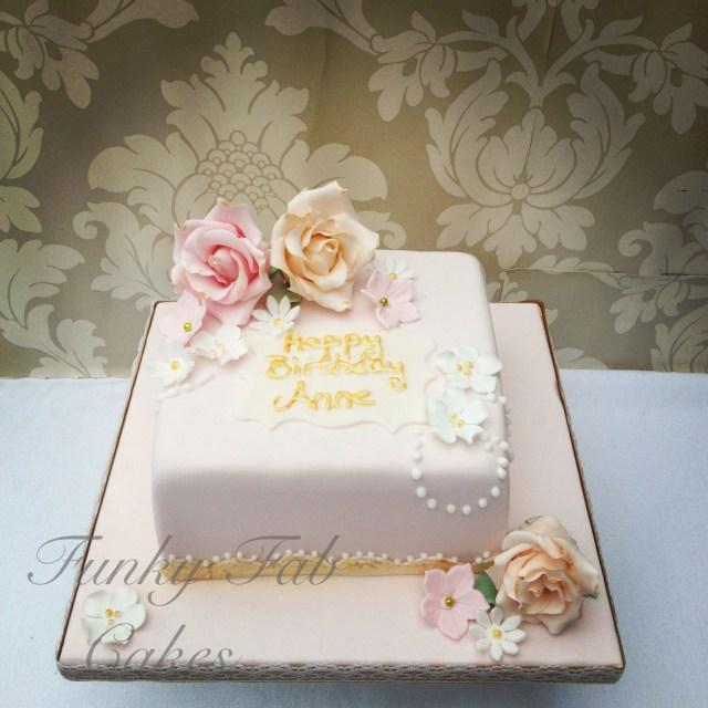 Square Birthday Cakes Vintage Floral 80th Birthday Cake With Sugar Flowers 80th Birthday