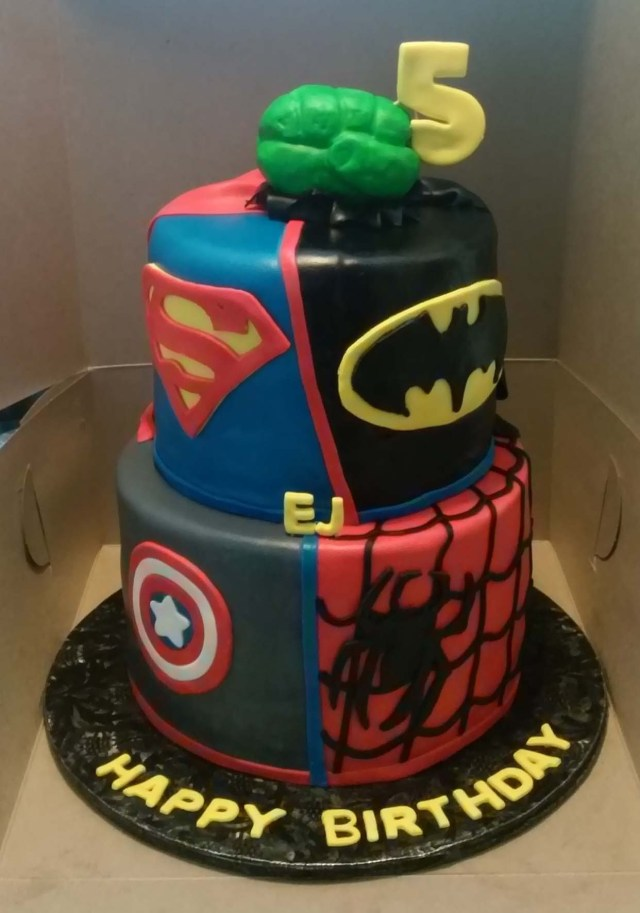 Superhero Birthday Cakes Dc And Marvel Themed 2 Tier Cake Cakecentral