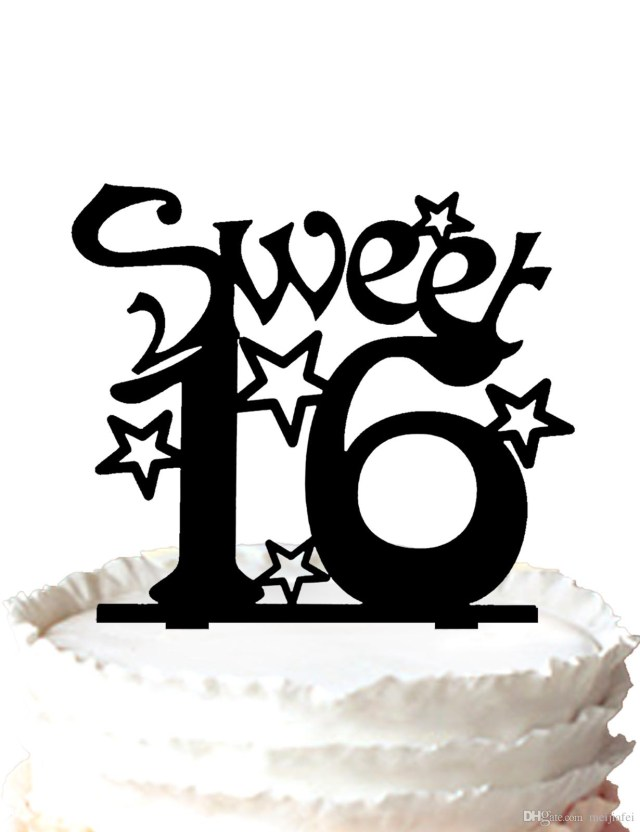 Sweet Sixteen Birthday Cakes 2019 Sweet Sixteen Birthday Cake Topper Silhouette Many Stars For