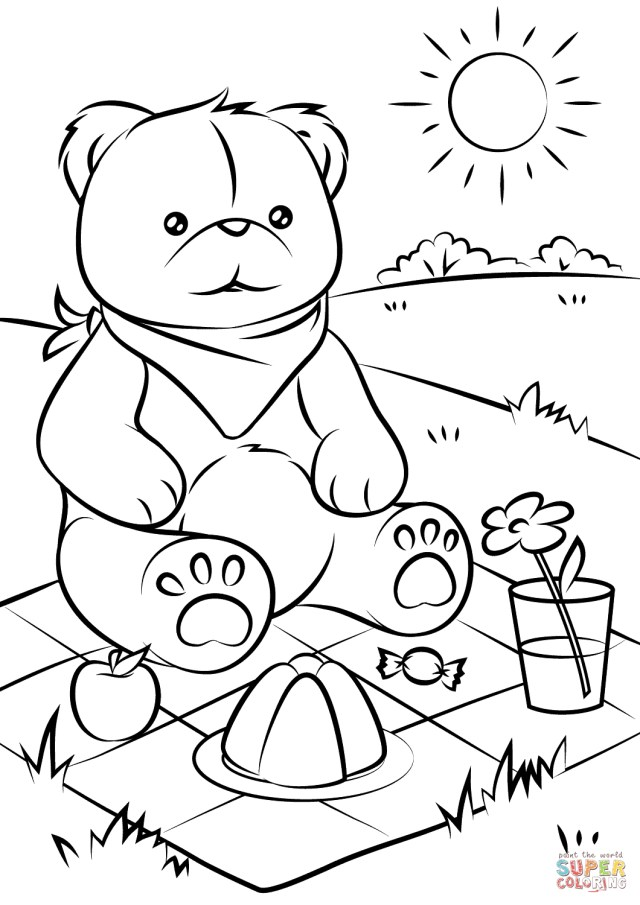 Teddy Bear Coloring Pages Bear Coloring Pages Teddy Bears Picnic Page Free Printable 10601500