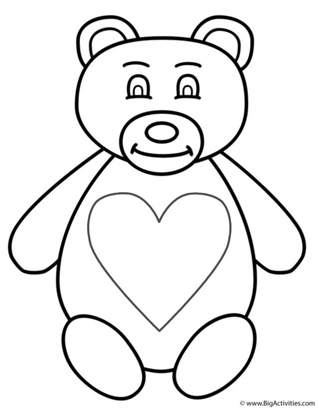Teddy Bear Coloring Pages Teddy Bear Coloring Page Valentines Day