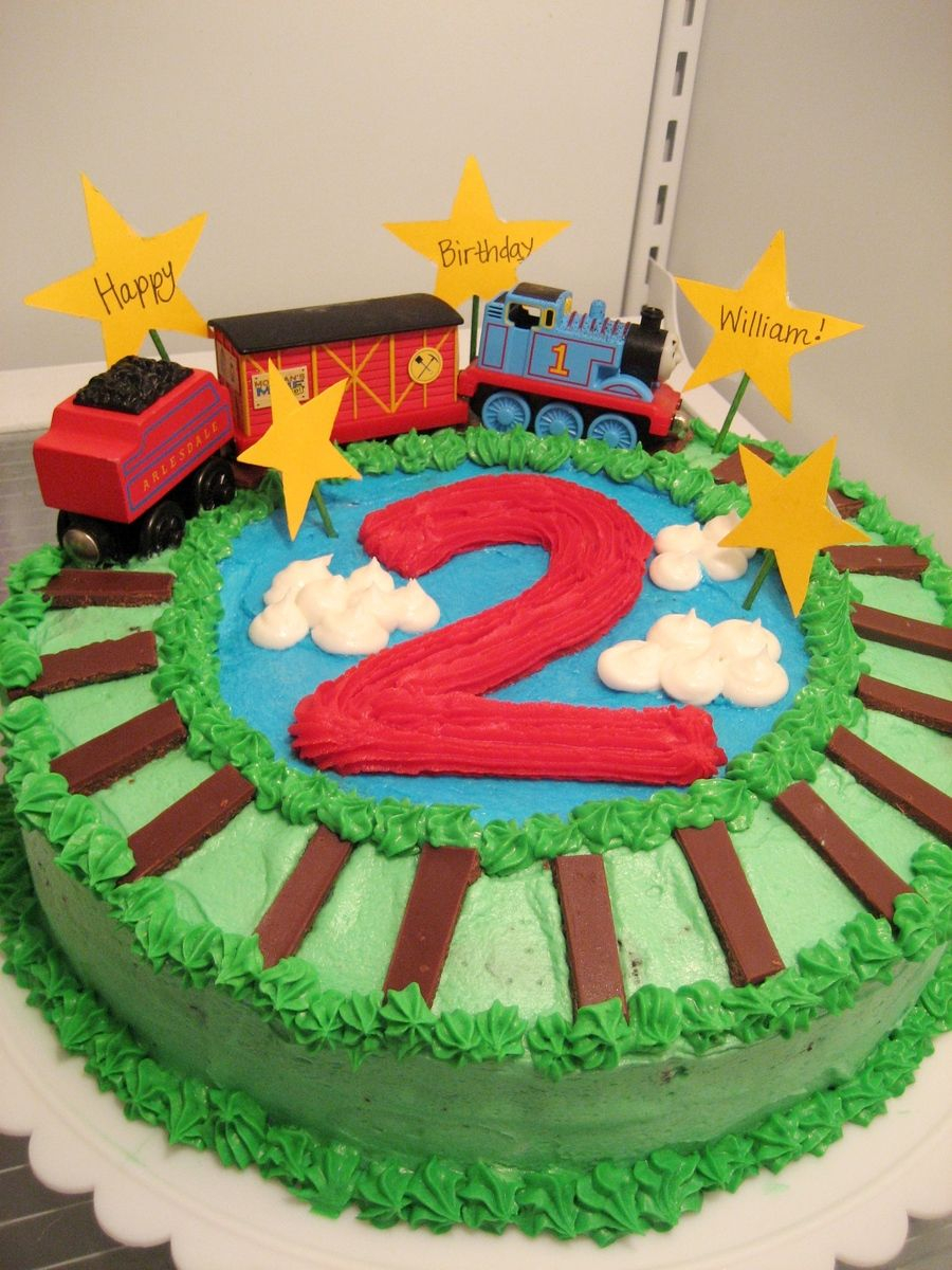 Marvelous Thomas The Train Birthday Cake Thomas The Train Cake For Sons 2Nd Funny Birthday Cards Online Inifodamsfinfo